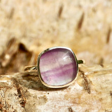 Load image into Gallery viewer, Rainbow Fluorite Ring Square Design
