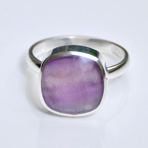 Rainbow Fluorite Ring Square Design