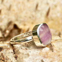 Load image into Gallery viewer, Rainbow Fluorite Square Silver Ring