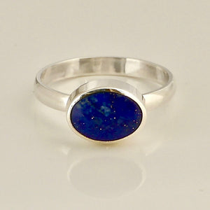 lapis lazuli silver ring oval