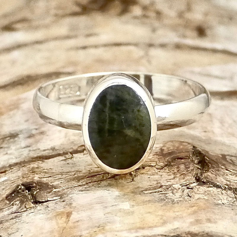 Connemara Marble Ring Oval handmade in silver