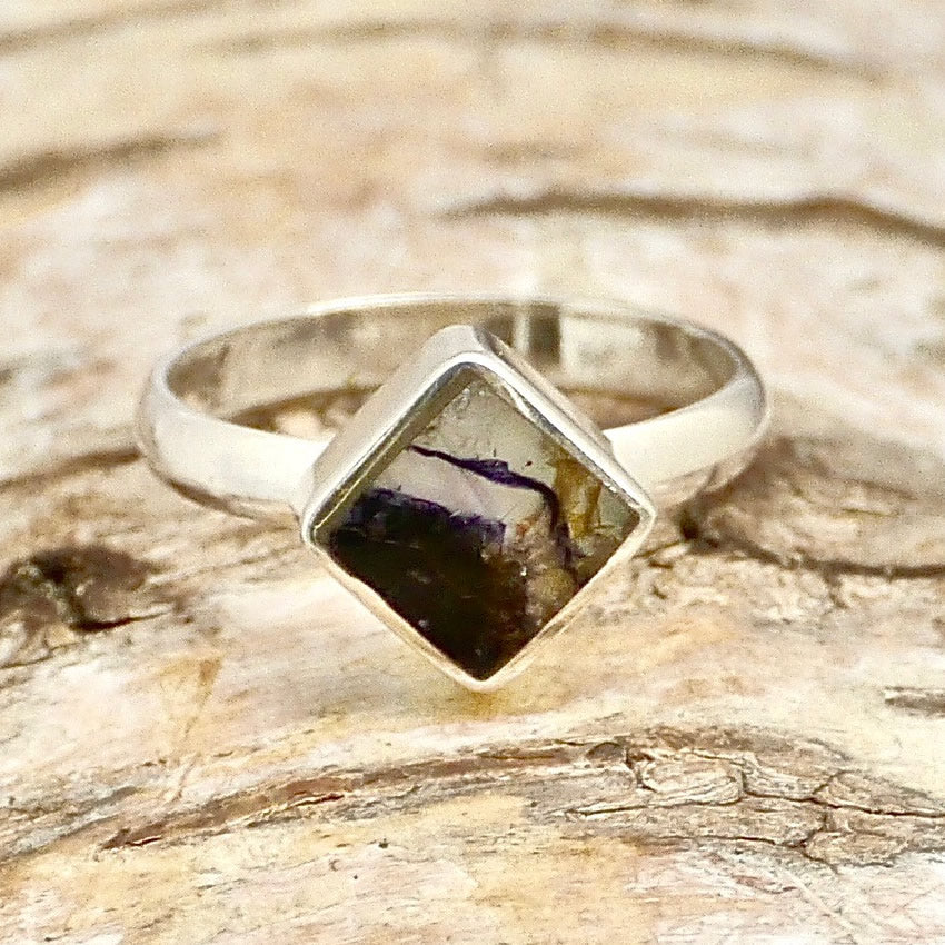blue john sterling silver ring square design