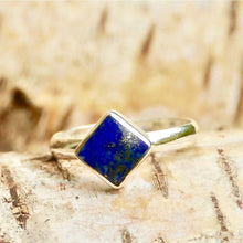 Load image into Gallery viewer, Lapis Lazuli Square Silver Ring