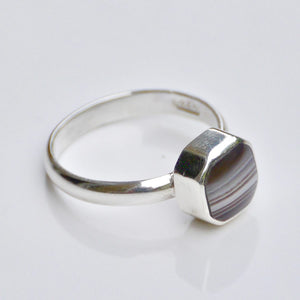 Banded Agate Square Silver Ring