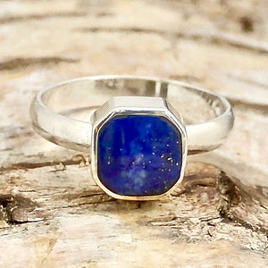 handmade lapis lazuli ring in sterling silver