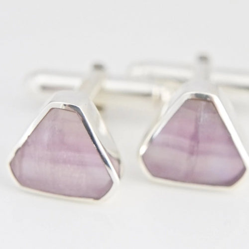 Rainbow Fluorite Triangle Cufflinks