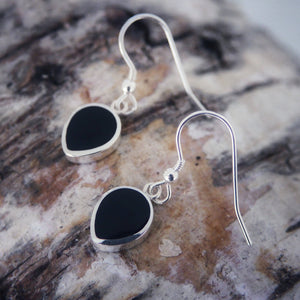 Whitby Jet Drop Earrings Peardrop design