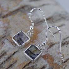 Load image into Gallery viewer, Blue John 7mm Square Silver Drop Earrings