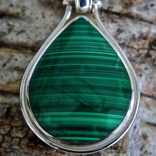 Load image into Gallery viewer, Malachite Pendant Teardrop Shape with Blue John on the reverse side