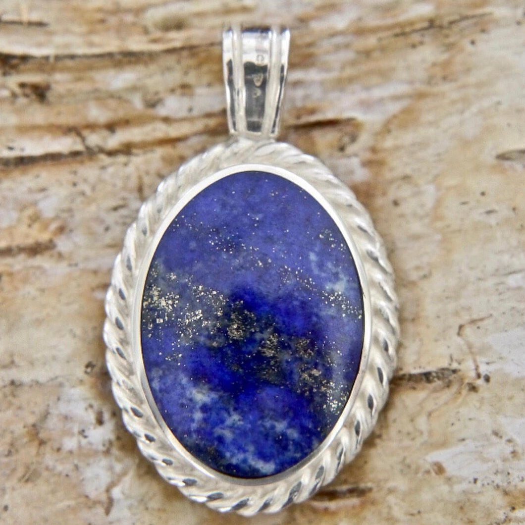 Lapis Lazuli Rope Weave Pendant with Blue John on the reverse side