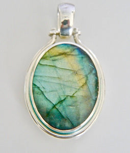 Labradorite & Blue John Double Sided Pendant