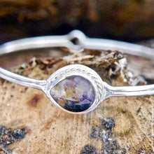 Load image into Gallery viewer, Blue John Silver Bangle Pear Design