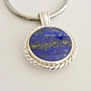 Lapis Lazuli Pendant with Blue John on the reverse side
