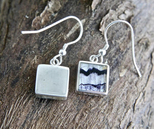 Blue John Drop Earrings 9mm Square