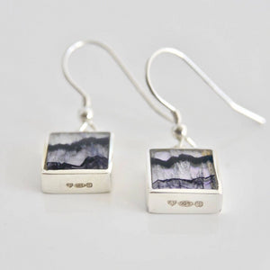 Blue John Earrings Square Design 9mm