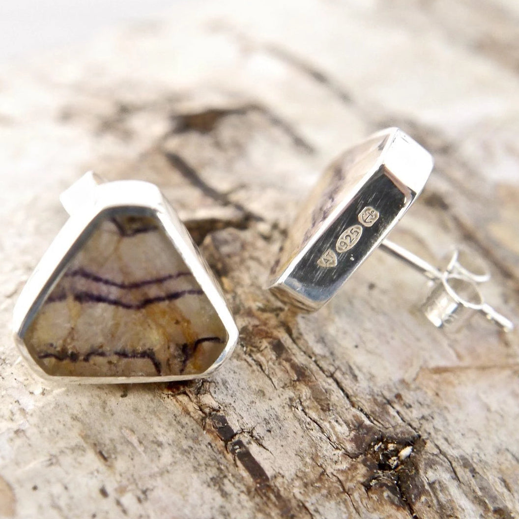 Blue John Stud Earrings Triangle Design in Silver