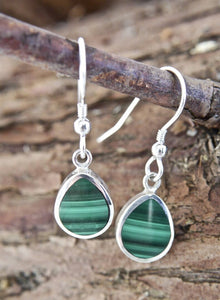 Malachite Earrings Peardrop Design
