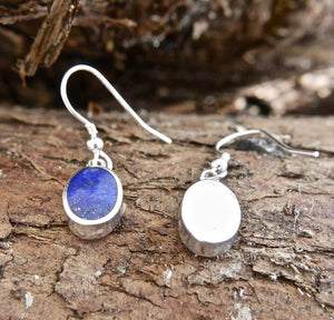 Lapis Lazuli Drop Earrings Oval Design