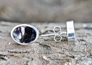 Blue John Oval Stud Earrings