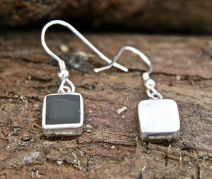 Whitby Jet Square Drop Earrings