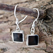 Load image into Gallery viewer, Whitby Jet Square Drop Earrings