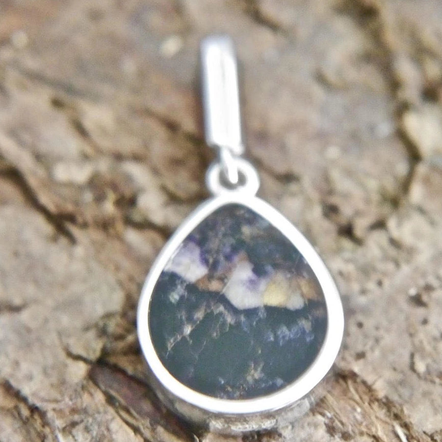 Blue John Teardrop Pendant in Sterling Silver