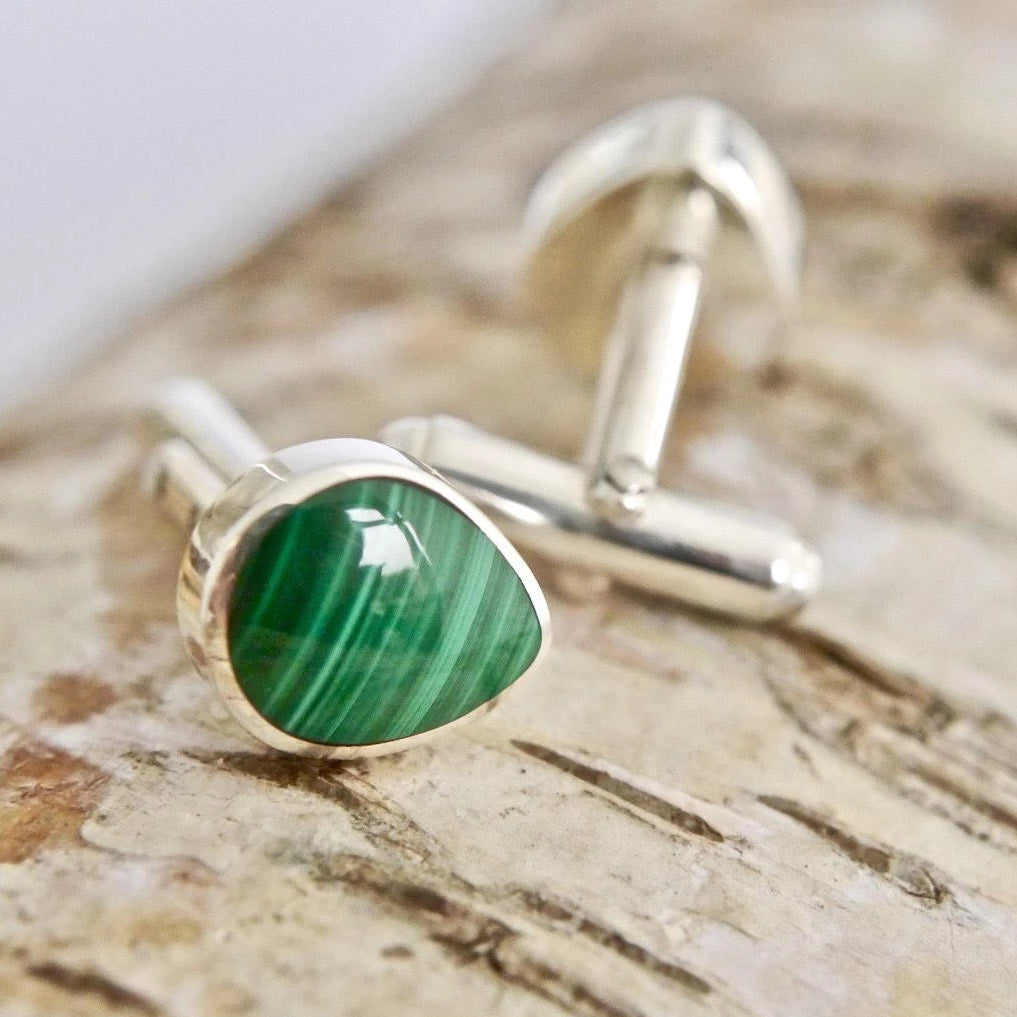 Malachite Cufflinks Peardrop Design