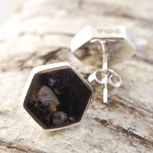 Load image into Gallery viewer, Blue John Stud Hexagon Earrings