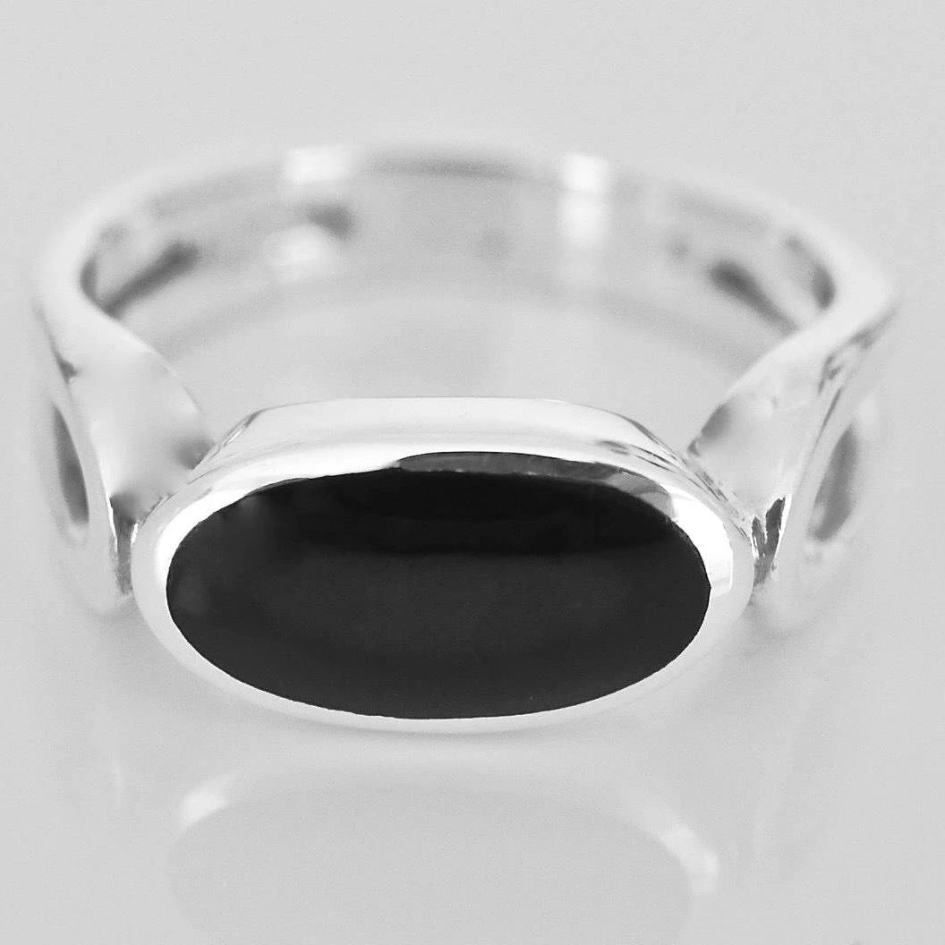 Whitby Jet Oval Silver Ring