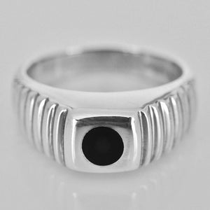 Patterned Silver Whitby Jet Ring