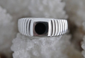 Whitby Jet Patterned Silver Ring