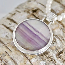 Load image into Gallery viewer, Fluorite Pendant with Labradorite on the reverse side.