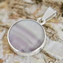 Load image into Gallery viewer, Rainbow Fluorite Pendant with Whitby Jet on the reverse