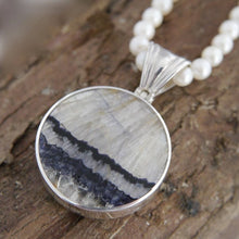 Load image into Gallery viewer, Blue John Pendant with Whitby Jet on the reverse side