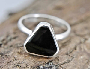Whitby Jet Triangle Silver Ring