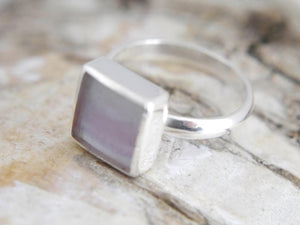 Rainbow Fluorite Silver Ring Square
