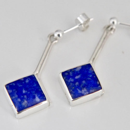 Lapis Lazuli Silver Stem Drop Earrings