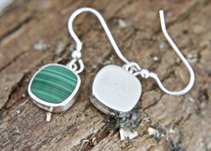 Malachite Silver Drop Earrings
