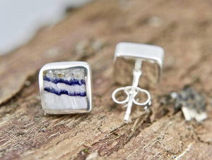 Blue John Square Stud Silver Earrings
