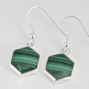 Malachite Drop Earring Hexagon Design