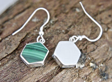Load image into Gallery viewer, Malachite Hexagon Design Drop Earrings