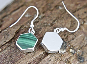 Malachite Hexagon Design Drop Earrings