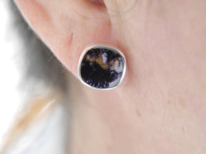 Blue John Silver Stud Earrings