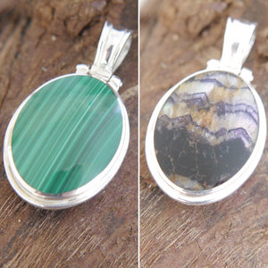 Blue John & Malachite Double Sided Pendant