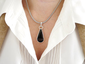 Blue John and Whitby Jet Double Sided Pendant