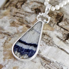 Load image into Gallery viewer, Blue John Pendant with Whitby Jet on the reverse.