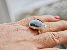 Load image into Gallery viewer, Labradorite Silver Ring 20mm Triangle