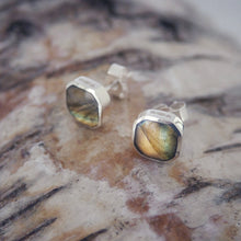 Load image into Gallery viewer, Labradorite Square Stud Earrings