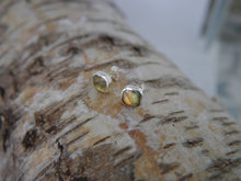 Load image into Gallery viewer, Labradorite Stud Earrings 8mm Square
