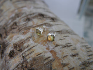 Labradorite Stud Earrings  Square Design